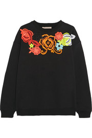 Neon guipure lace-appliquéd cotton-blend sweatshirt