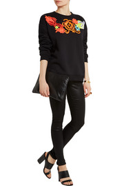 Christopher Kane Neon guipure lace-appliquéd cotton-blend sweatshirt