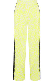Lace-trimmed printed stretch-crepe wide-leg pants