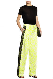 Christopher Kane Lace-trimmed printed stretch-crepe wide-leg pants