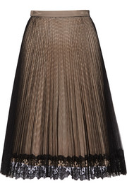 Lace-trimmed pleated tulle skirt