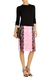 Lace-paneled printed crepe skirt