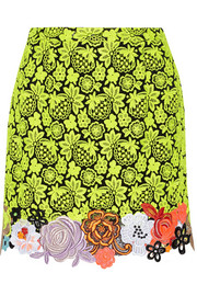 Neon guipure lace and cady mini skirt