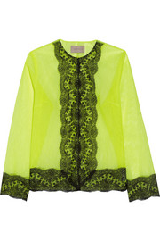 Lace-trimmed neon tulle jacket