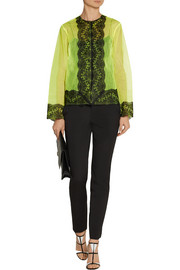 Christopher Kane Lace-trimmed neon tulle jacket