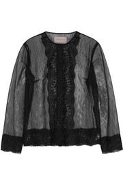 Lace-trimmed tulle jacket