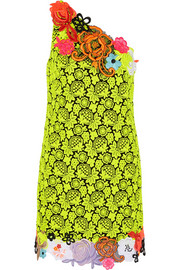 Neon guipure lace and cady mini dress