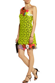 Christopher Kane Neon guipure lace and cady mini dress