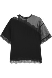 Christopher Kane Lace-trimmed mesh and sateen top