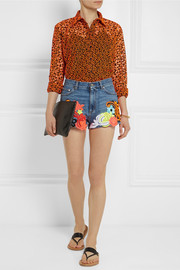 Floral-appliquéd denim shorts