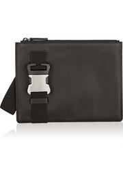Safety Buckle textured-leather clutch
