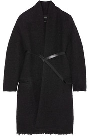 Seal belted wool-blend bouclé coat