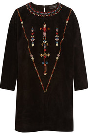Isabel Marant Maggy embroidered suede mini dress