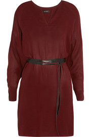 Roomy belted georgette dress