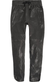 Daniels leather tapered pants