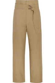 Owel cotton and linen-blend wide-leg pants