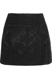 Andy embroidered silk-georgette wrap mini skirt