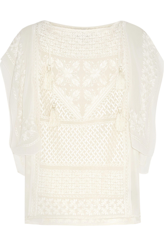 Isabel Marant Allen embroidered silk-georgette top