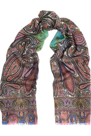 Paisley-print cashmere scarf