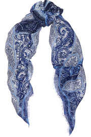 Paisley-print linen and silk-blend scarf