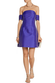Carven Off-the-shoulder satin-twill mini dress