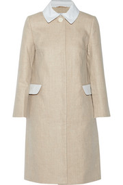 Seersucker cotton-trimmed linen coat