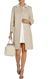 Carven Seersucker cotton-trimmed linen coat