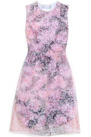 Carven Printed silk-organza and cotton mini dress