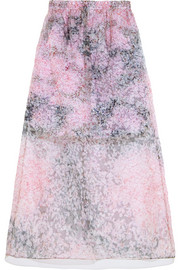 Carven Printed silk-organza and cotton skirt
