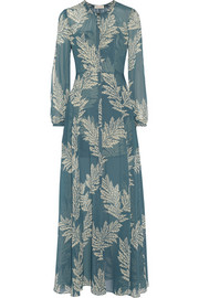 The Power Hour printed georgette and jacquard maxi dress