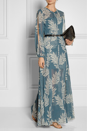 Sass & bide The Power Hour printed georgette and jacquard maxi dress