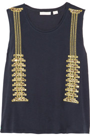On My Terms embellished cotton-jersey top