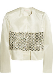 Role Play embellished satin-jacquard jacket