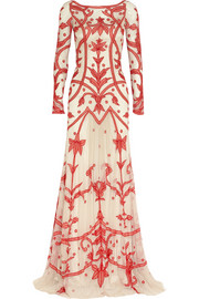 Temperley London Francine chiffon-appliquéd tulle gown