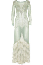 Temperley London Silvia embellished silk-georgette gown