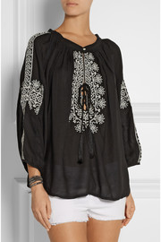 Melissa Odabash Fatima embroidered voile top
