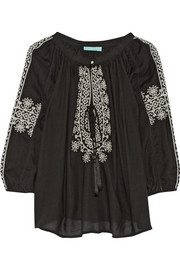 Fatima embroidered voile top