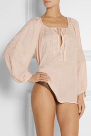 Melissa Odabash Talitha embroidered voile top