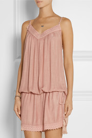 Melissa Odabash Tiggy crochet-trimmed cotton-twill dress