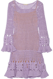 Crocheted cashmere-blend mini dress