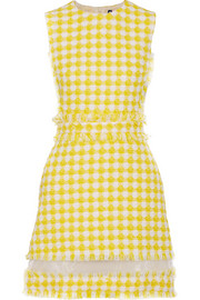 Organza-trimmed gingham tweed mini dress
