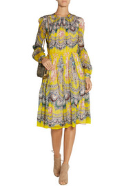MSGM Printed silk-chiffon midi dress