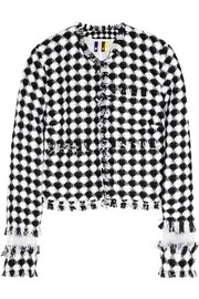 MSGM Organza-paneled gingham tweed jacket