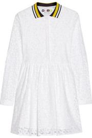 Cotton-blend lace shirt dress