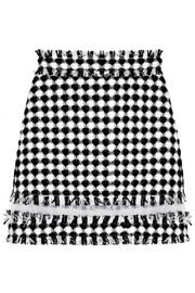 Organza-paneled gingham tweed mini skirt