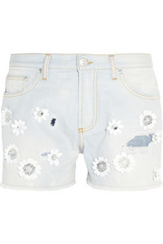 MSGM Floral-appliquéd denim shorts