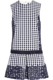 Lace-paneled gingham cotton-blend twill mini dress