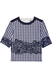Lace-appliquéd gingham cotton-blend top