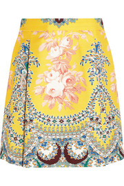 MSGM Printed cotton-twill mini skirt