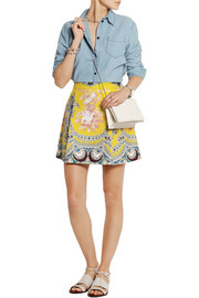 Printed cotton-twill mini skirt